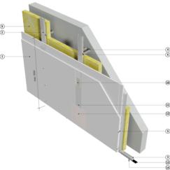 Еднопластова предстенна обшивка от влагоустойчив гипскартон 50mm конструкция, без вата