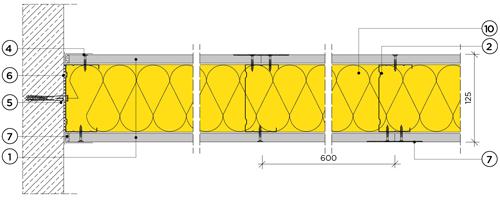 Еднопластова преградна стена с конструкция 100mm