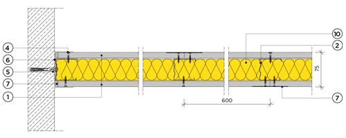 Еднопластова преградна стена с конструкция 50mm