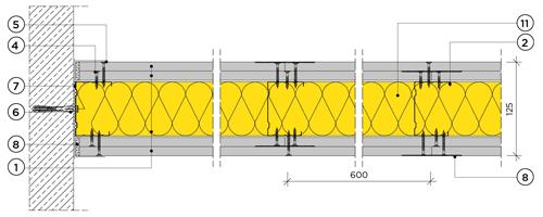Двупластова преградна стена с конструкция 75mm